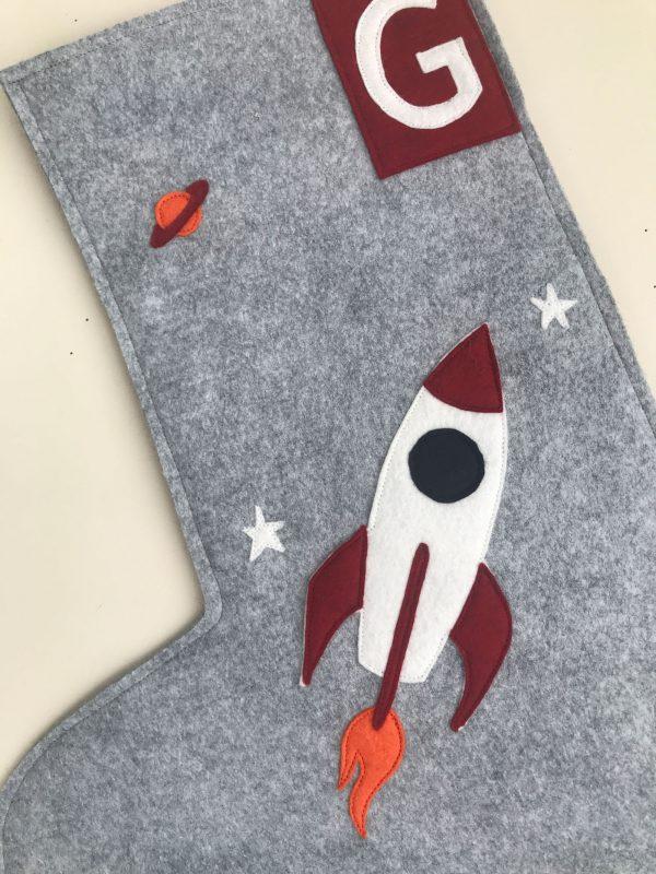 Detail of Rocket Ship Stocking