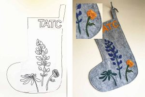 Custom Floral Stocking with Customer Sketch