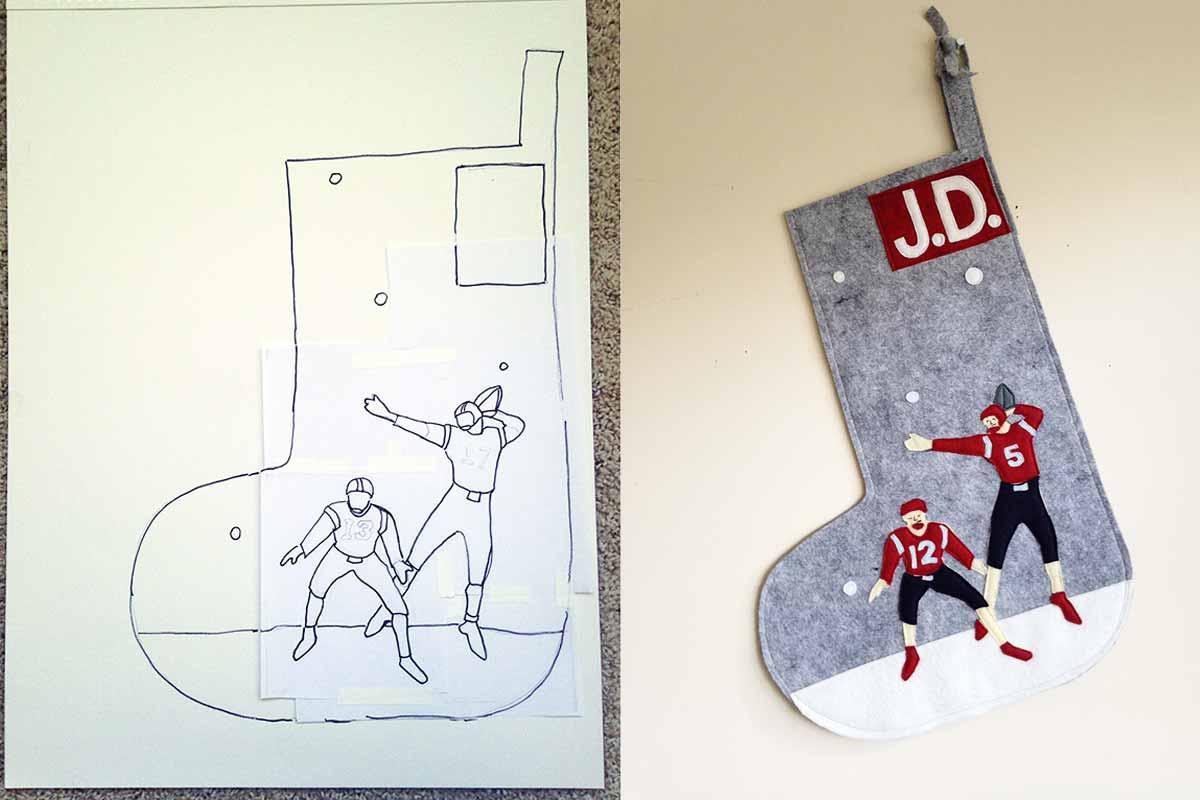 Custom Football Stocking with Sketch