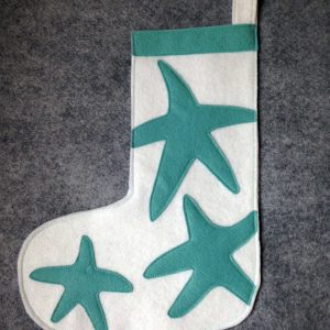 Teal and White Small Sized Starfish Stocking