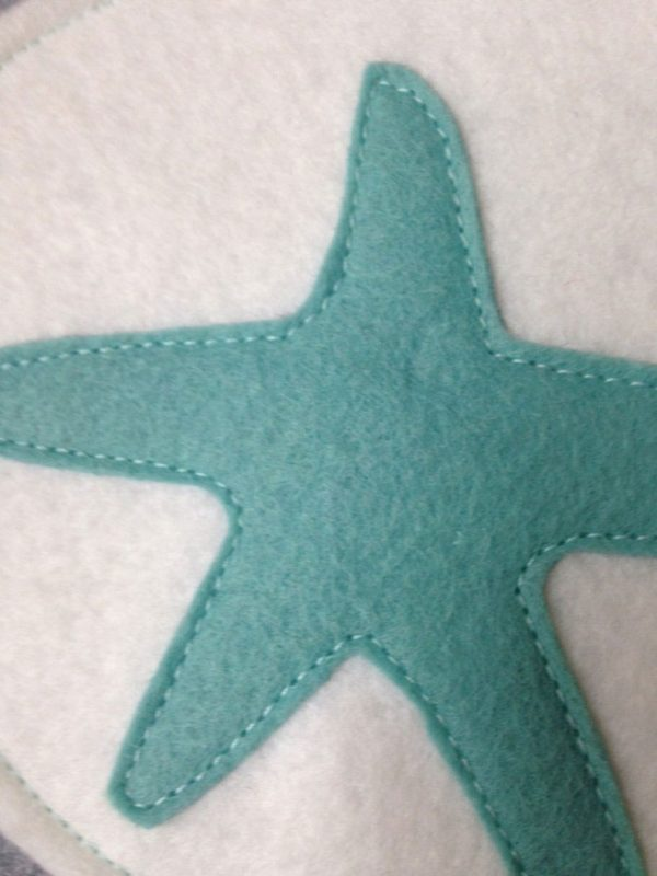 Detail 2 of Teal and White Starfish Stocking
